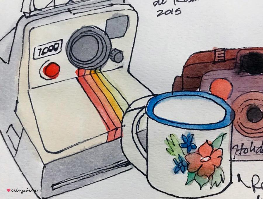 Polaroid y pocillito vintage | Acuarela